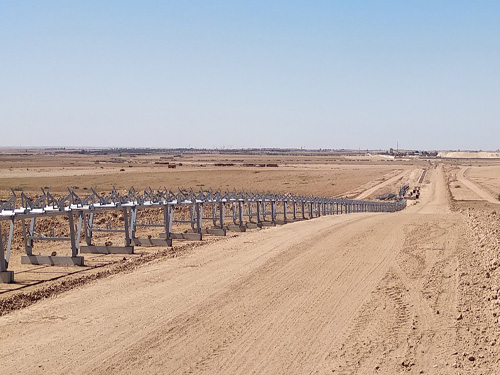 Lot of conveyor belts and heap stackers in the Lavarie de Benguerir Project, Benguerir, Morocco
