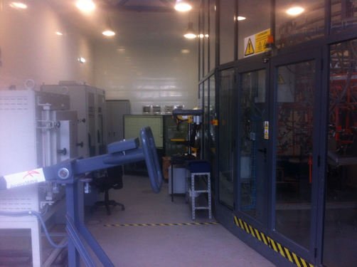 Head hardened rail process test machine, located in the Research and Development Center, Avilés, Spain.